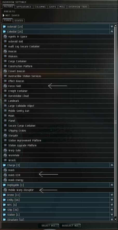 Some overview settings